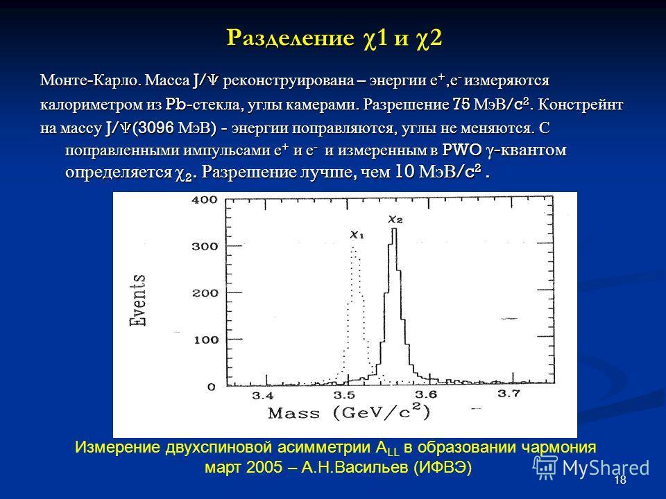 18 Разделение Разделение 1 и 2 Монте - Карло. Масса J/ реконструирована – энергии е +, е - измеряются калориметром из Pb- стекла, углы камерами. Разрешение 75 МэВ /c 2. Констрейнт на массу J/ (3096 МэВ ) - энергии поправляются, углы не меняются. С по