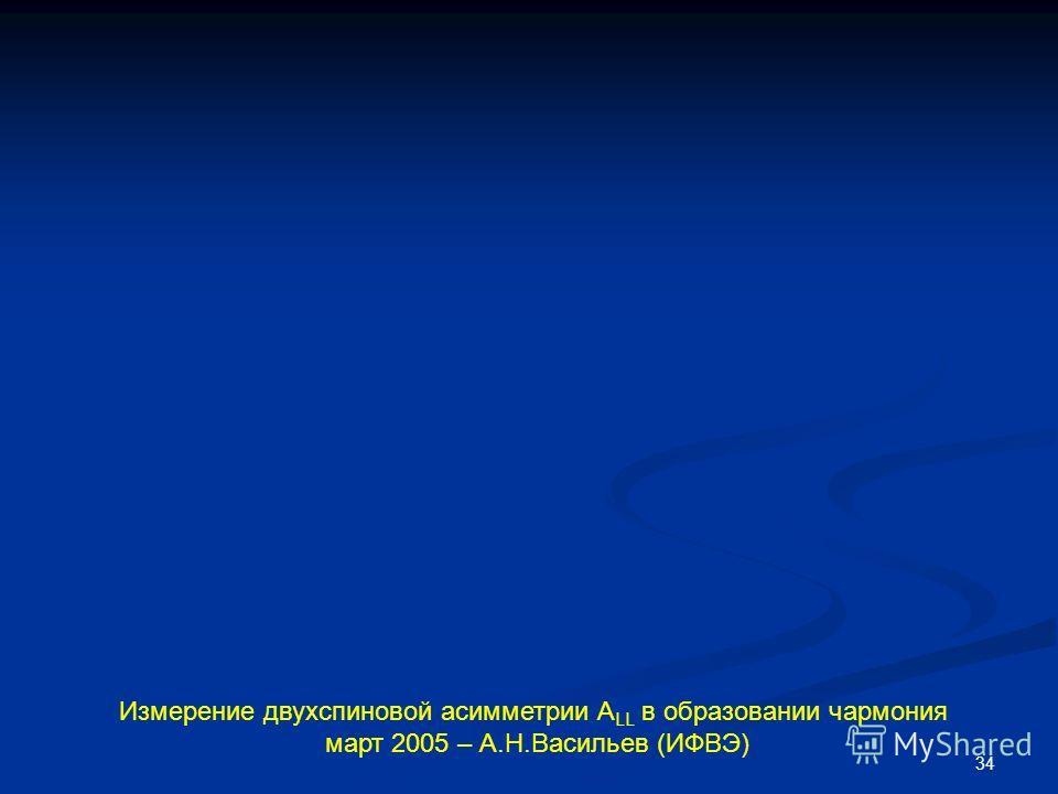34 Измерение двухспиновой асимметрии А LL в образовании чармония март 2005 – А.Н.Васильев (ИФВЭ)