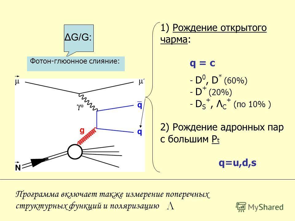 Фотон-глюонное слияние: 1) Рождение открытого чарма: q = c - D 0, D * (60%) - D + (20%) - D S +, Λ C + (по 10% ) 2) Рождение адронных пар с большим P t q=u,d,s Программа включает также измерение поперечных структурных функций и поляризацию ΔG/G: