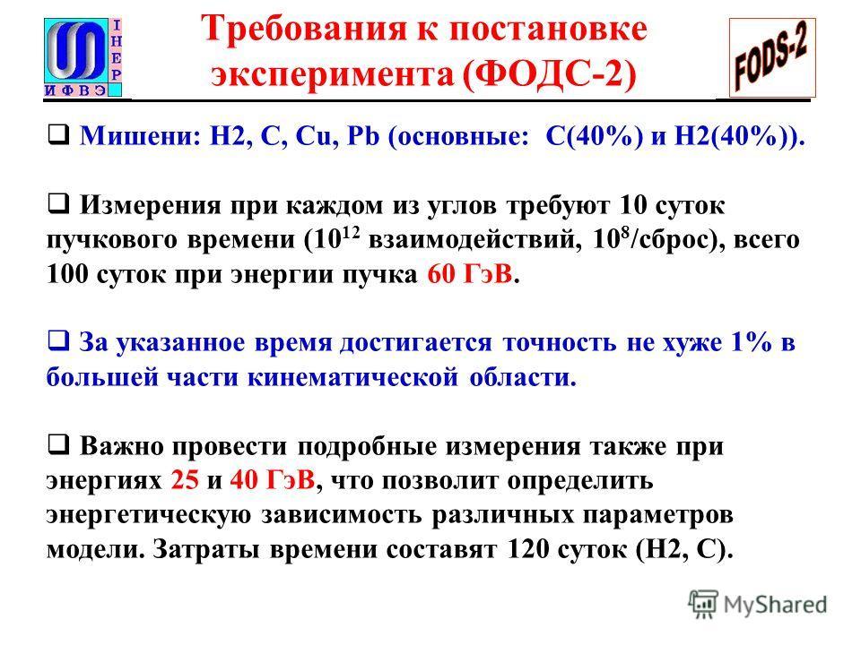 Требования к постановке эксперимента (ФОДС-2) Мишени: Н2, C, Cu, Pb (основные: C(40%) и H2(40%)). Измерения при каждом из углов требуют 10 суток пучкового времени (10 12 взаимодействий, 10 8 /сброс), всего 100 суток при энергии пучка 60 ГэВ. За указа
