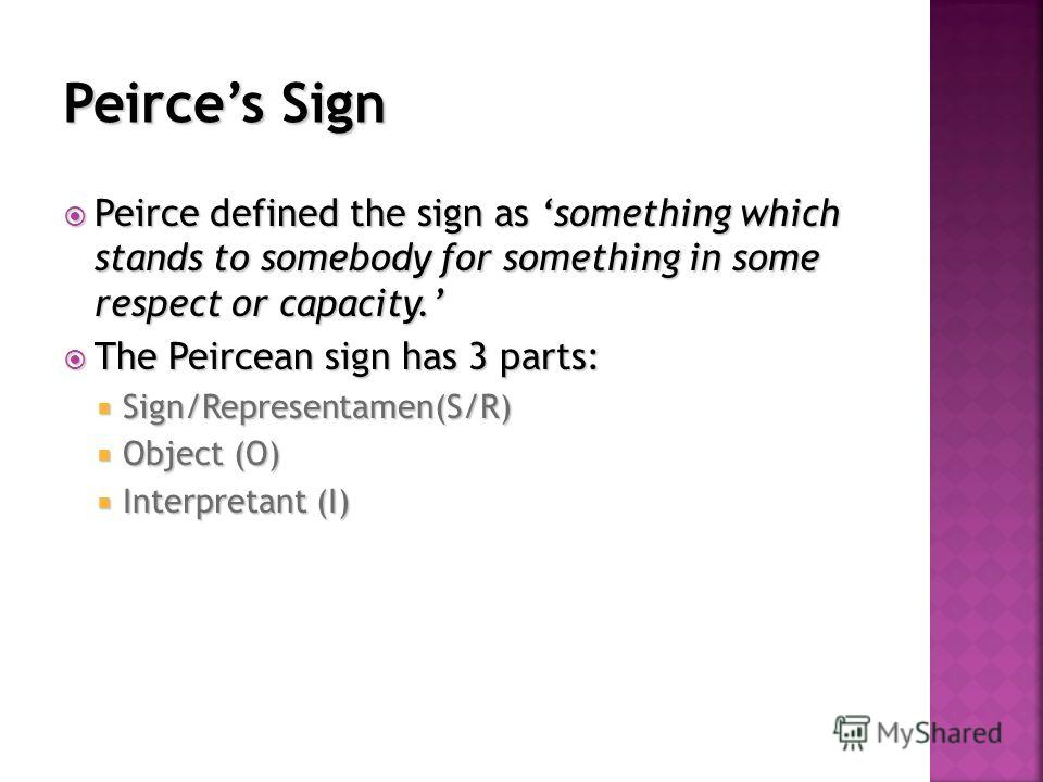 Peirce defined the sign as something which stands to somebody for something in some respect or capacity. Peirce defined the sign as something which stands to somebody for something in some respect or capacity. The Peircean sign has 3 parts: The Peirc