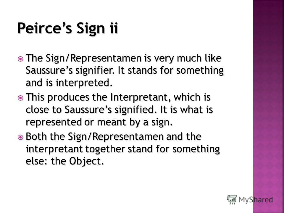 The Sign/Representamen is very much like Saussures signifier. It stands for something and is interpreted. The Sign/Representamen is very much like Saussures signifier. It stands for something and is interpreted. This produces the Interpretant, which