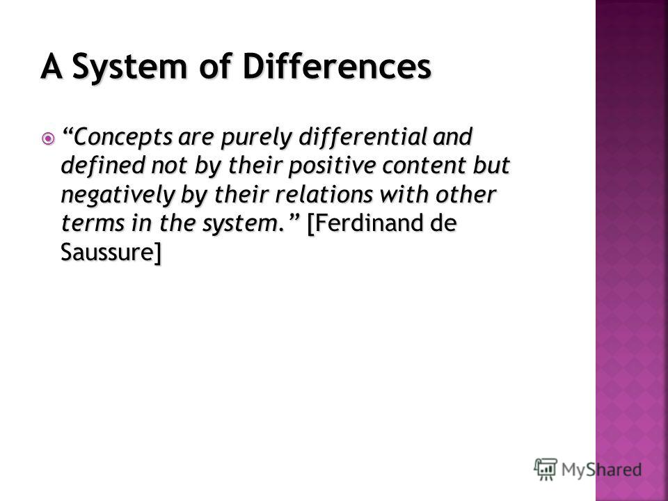 Concepts are purely differential and defined not by their positive content but negatively by their relations with other terms in the system. [Ferdinand de Saussure] Concepts are purely differential and defined not by their positive content but negati