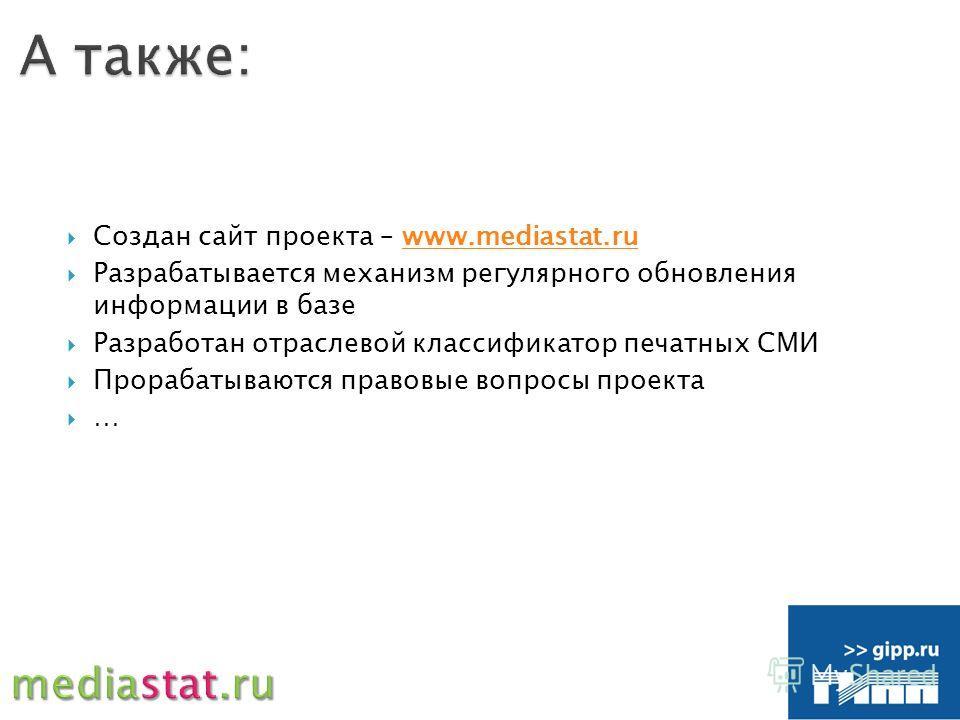 Создан сайт проекта – www.mediastat.ruwww.mediastat.ru Разрабатывается механизм регулярного обновления информации в базе Разработан отраслевой классификатор печатных СМИ Прорабатываются правовые вопросы проекта …
