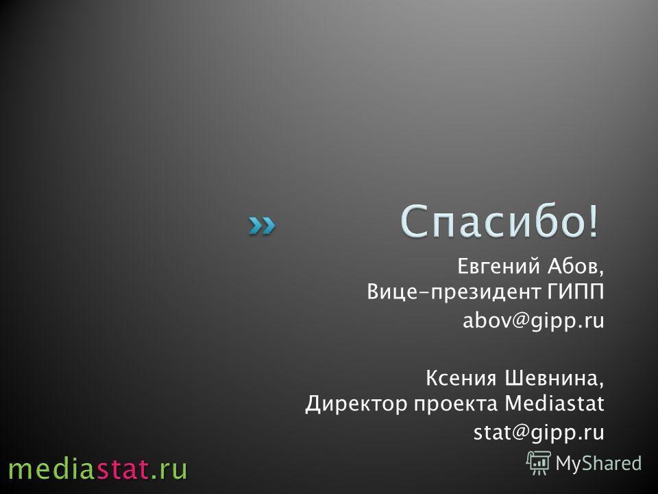 Евгений Абов, Вице-президент ГИПП abov@gipp.ru Ксения Шевнина, Директор проекта Mediastat stat@gipp.ru