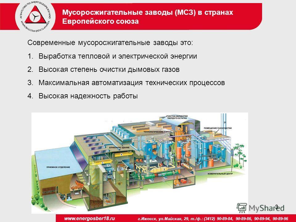3 www.energosber18.ru г.Ижевск, ул.Майская, 29, т./ф.: (3412) 90-89-84, 90-89-86, 90-89-94, 90-89-96 Мусоросжигательные заводы (МСЗ) в странах Европейского союза Современные мусоросжигательные заводы это: 1.Выработка тепловой и электрической энергии