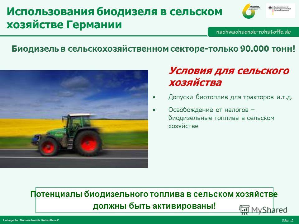 Fachagentur Nachwachsende Rohstoffe e.V. Seite: 10 Условия для сельского хозяйства Допуски биотоплив для тракторов и.т.д. Освобождение от налогов – биодизельные топлива в сельском хозяйстве Использования биодизеля в сельском хозяйстве Германии Потенц