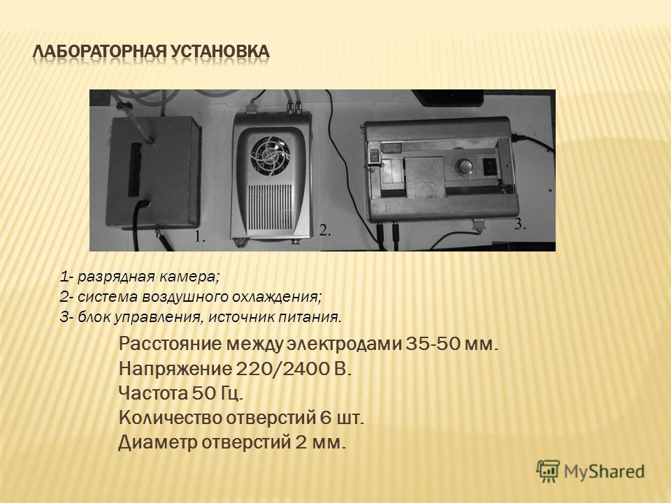 Расстояние между электродами 35-50 мм. Напряжение 220/2400 В. Частота 50 Гц. Количество отверстий 6 шт. Диаметр отверстий 2 мм. 1- разрядная камера; 2- система воздушного охлаждения; 3- блок управления, источник питания.