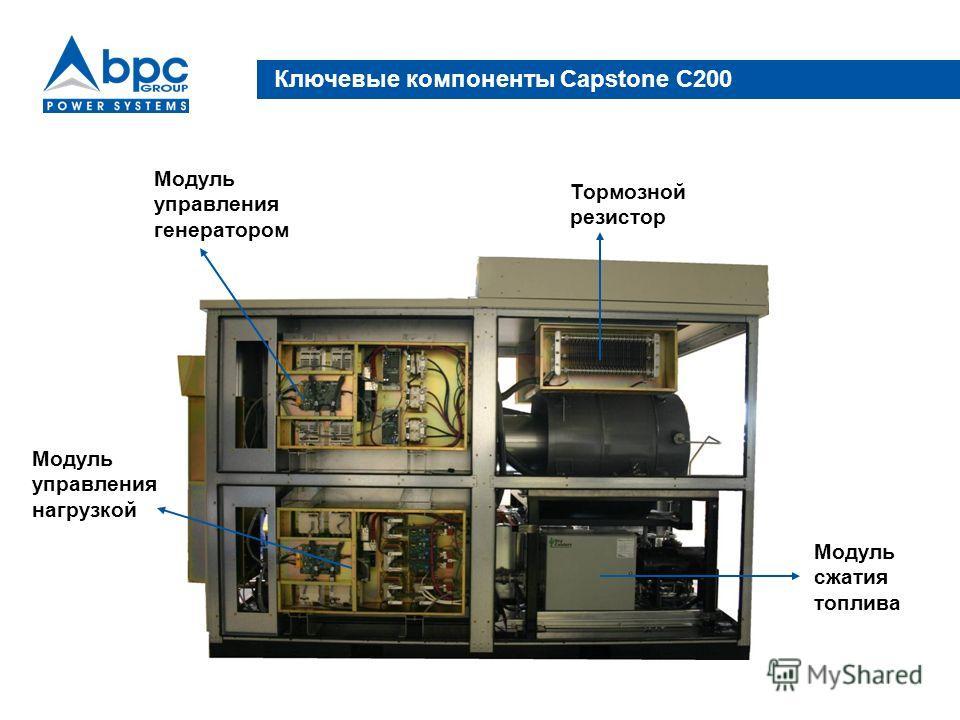 Ключевые компоненты Capstone C200 Тормозной резистор Модуль сжатия топлива Модуль управления генератором Модуль управления нагрузкой