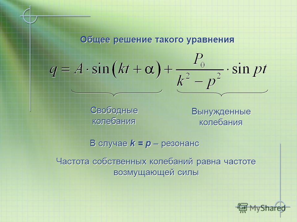 Общее решение такого уравнения В случае k = p – резонанс Вынужденные колебания Свободные колебания Частота собственных колебаний равна частоте возмущающей силы Частота собственных колебаний равна частоте возмущающей силы