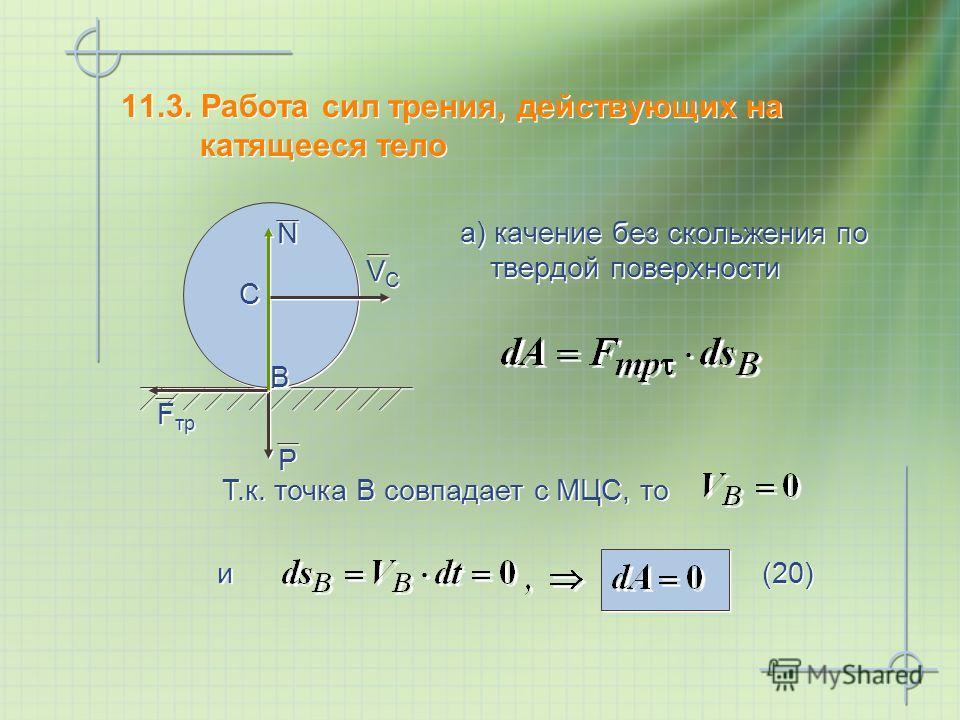11.3. Работа сил трения, действующих на катящееся тело а) качение без скольжения по твердой поверхности Т.к. точка В совпадает с МЦС, то и и P P N N VCVC VCVC C C B B F тр (20)