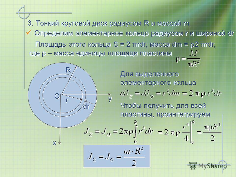 20 3. Тонкий круговой диск радиусом R и массой m Определим элементарное кольцо радиусом r и шириной dr x x y y O O Для выделенного элементарного кольца Чтобы получить для всей пластины, проинтегрируем Площадь этого кольца S = 2 πrdr, масса dm = ρ2 πr