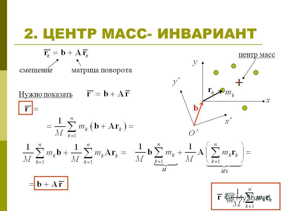 2. ЦЕНТР МАСС- ИНВАРИАНТ смещение центр масс матрица поворота Нужно показать