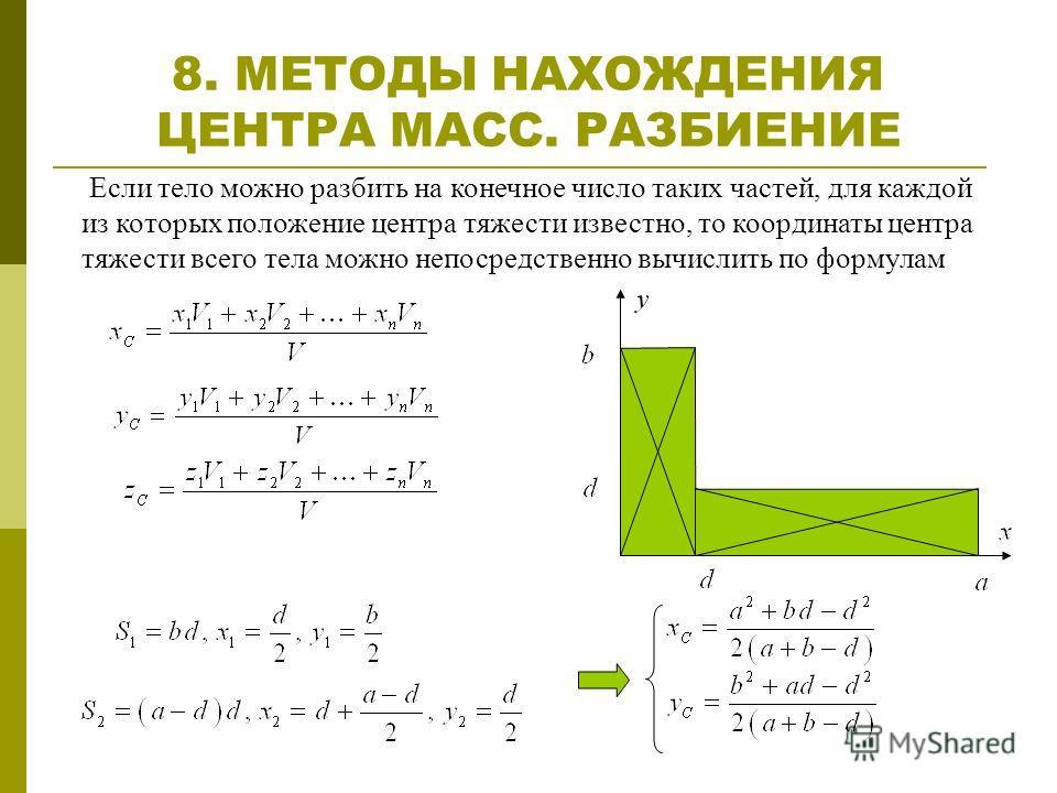 8. МЕТОДЫ НАХОЖДЕНИЯ ЦЕНТРА МАСС. РАЗБИЕНИЕ Если тело можно разбить на конечное число таких частей, для каждой из которых положение центра тяжести известно, то координаты центра тяжести всего тела можно непосредственно вычислить по формулам