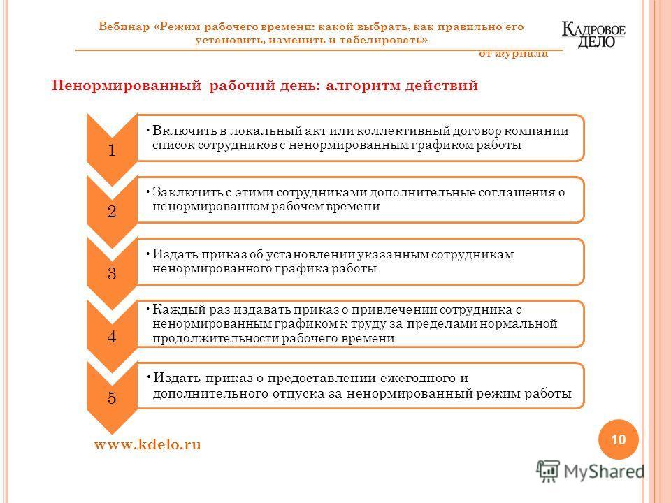 10 www.kdelo.ru 1 Включить в локальный акт или коллективный договор компании список сотрудников с ненормированным графиком работы 2 Заключить с этими сотрудниками дополнительные соглашения о ненормированном рабочем времени 3 Издать приказ об установл