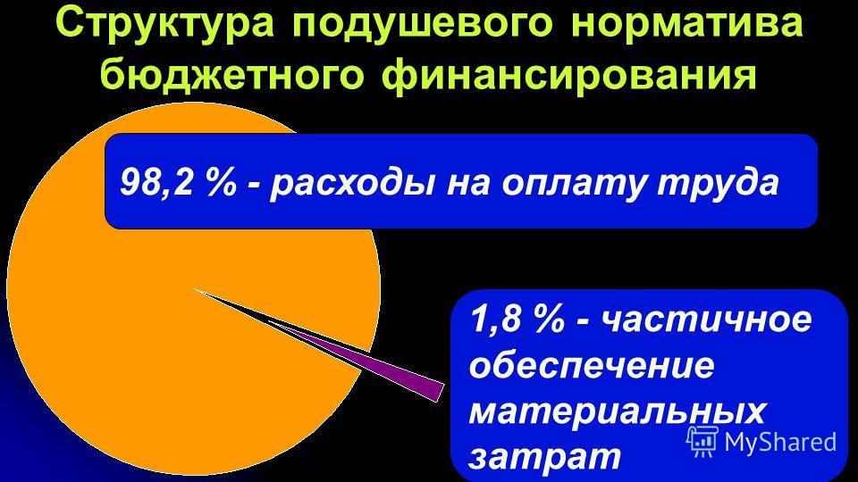 39 Структура подушевого норматива бюджетного финансирования 98,2 % - расходы на оплату труда 1,8 % - частичное обеспечение материальных затрат