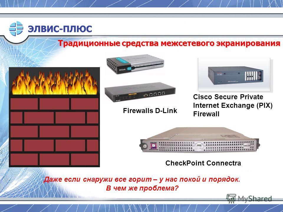 Традиционные средства межсетевого экранирования Cisco Secure Private Internet Exchange (PIX) Firewall Firewalls D-Link CheckPoint Connectra Даже если снаружи все горит – у нас покой и порядок. В чем же проблема?