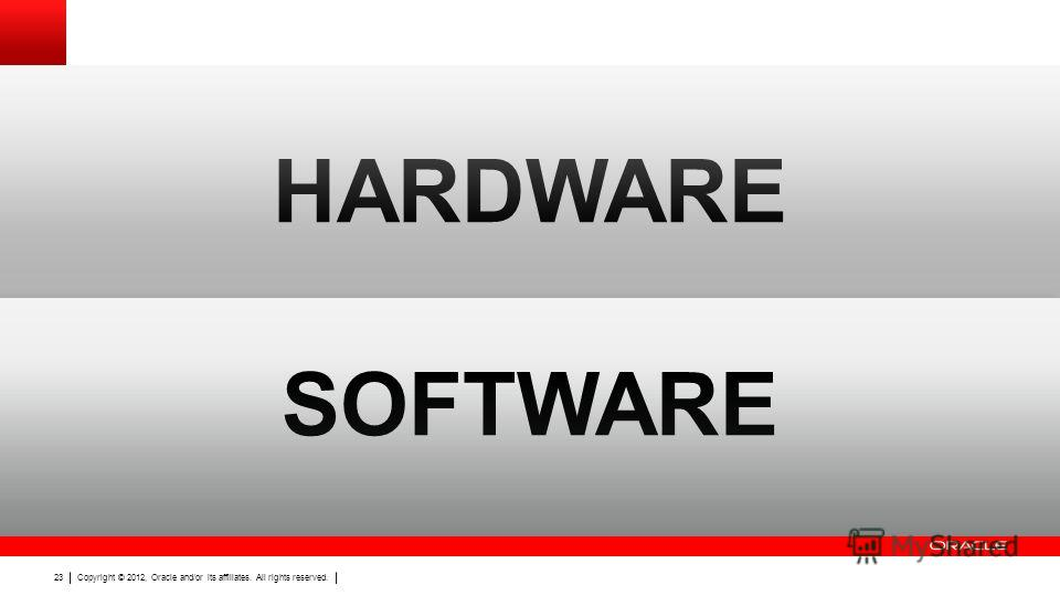 Copyright © 2012, Oracle and/or its affiliates. All rights reserved. 23 Безопасность без жертв HARDWARE SOFTWARE Copyright © 2012, Oracle and/or its affiliates. All rights reserved. 23