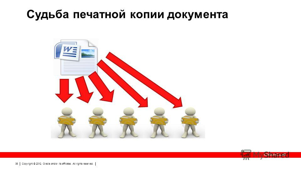 Copyright © 2012, Oracle and/or its affiliates. All rights reserved. 36 Судьба печатной копии документа