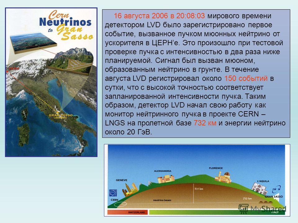 16 августа 2006 в 20:08:03 мирового времени детектором LVD было зарегистрировано первое событие, вызванное пучком мюонных нейтрино от ускорителя в ЦЕРНе. Это произошло при тестовой проверке пучка с интенсивностью в два раза ниже планируемой. Сигнал б