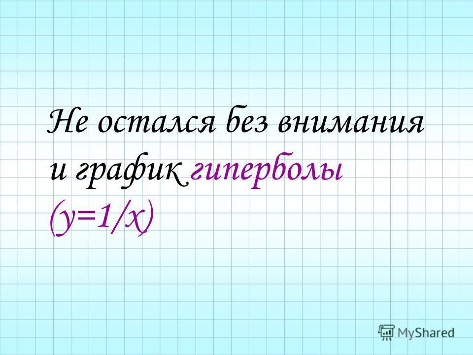 Не остался без внимания и график гиперболы (у=1/х)
