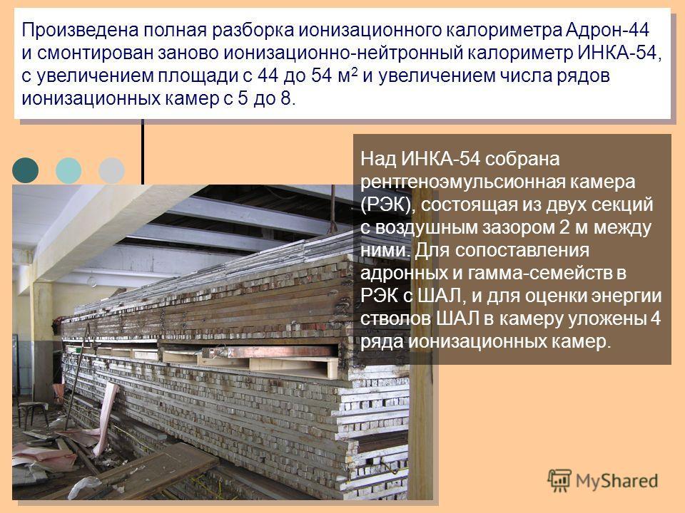 Произведена полная разборка ионизационного калориметра Адрон-44 и смонтирован заново ионизационно-нейтронный калориметр ИНКА-54, с увеличением площади с 44 до 54 м 2 и увеличением числа рядов ионизационных камер с 5 до 8. Над ИНКА-54 собрана рентгено