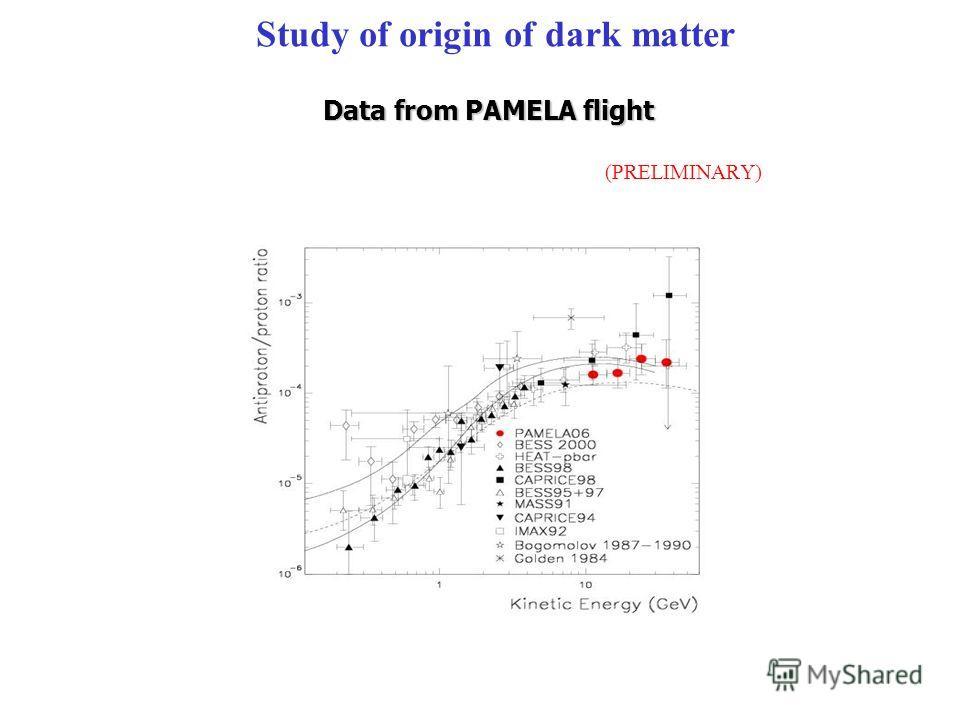 (PRELIMINARY) Data from PAMELA flight Study of origin of dark matter