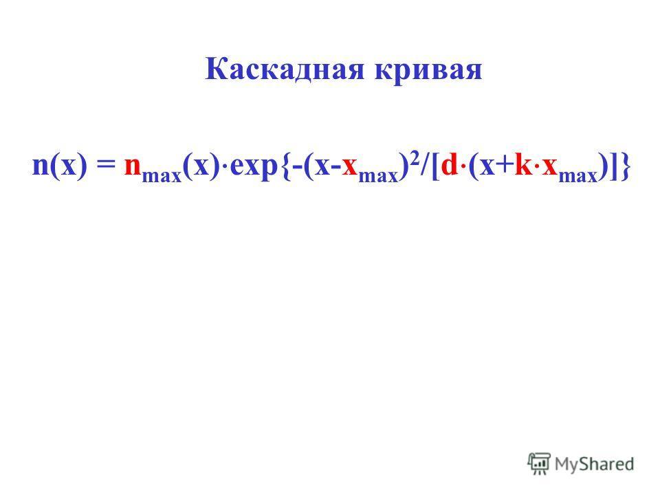 Каскадная кривая n(x) = n max (x) exp{-(x-x max ) 2 /[d (x+k x max )]}