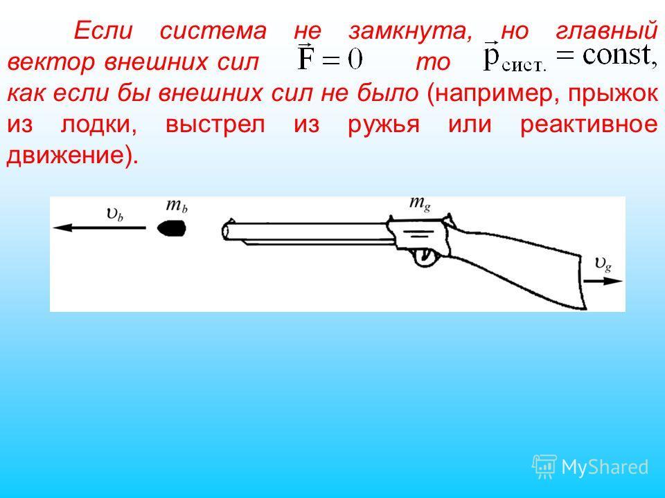 Если система не замкнута, но главный вектор внешних сил то как если бы внешних сил не было (например, прыжок из лодки, выстрел из ружья или реактивное движение).