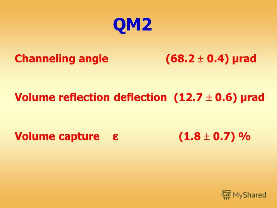 Channeling angle (68.2 0.4) μrad Volume reflection deflection (12.7 0.6) μrad Volume capture ε (1.8 0.7) %