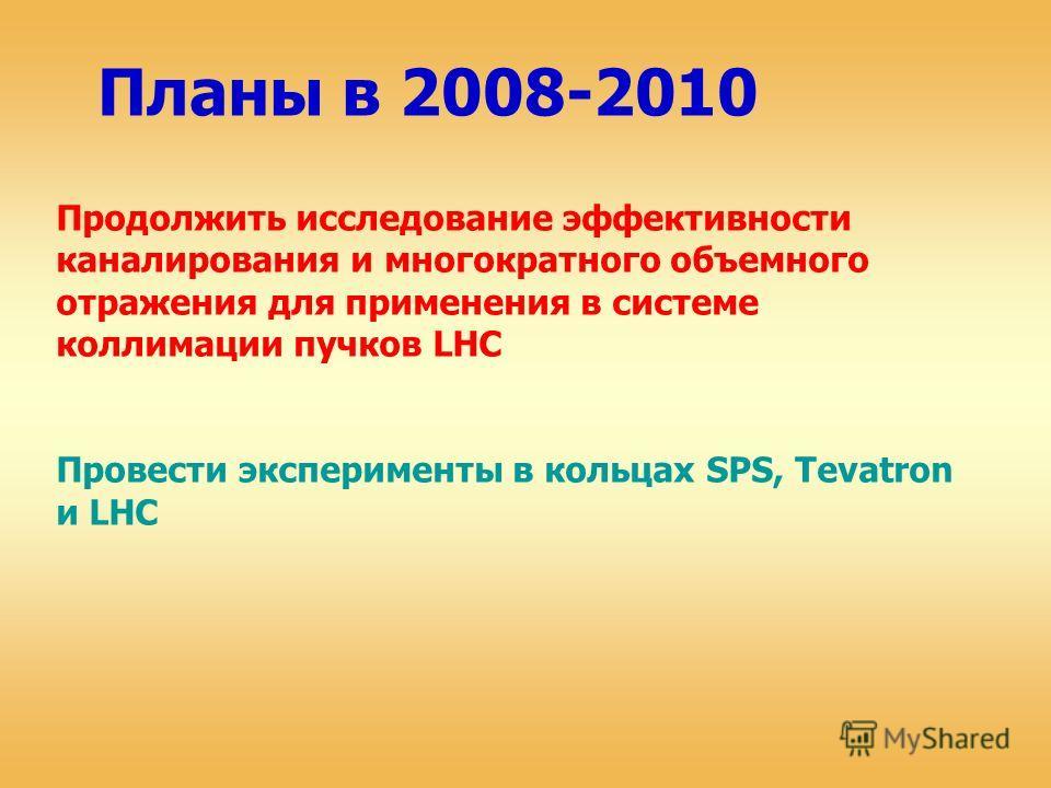 Планы в 2008-2010 Продолжить исследование эффективности каналирования и многократного объемного отражения для применения в системе коллимации пучков LHC Провести эксперименты в кольцах SPS, Tevatron и LHC