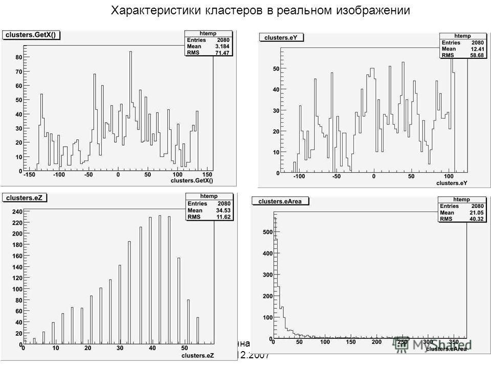 Нейтринная физика 20.12.2007 Характеристики кластеров в реальном изображении