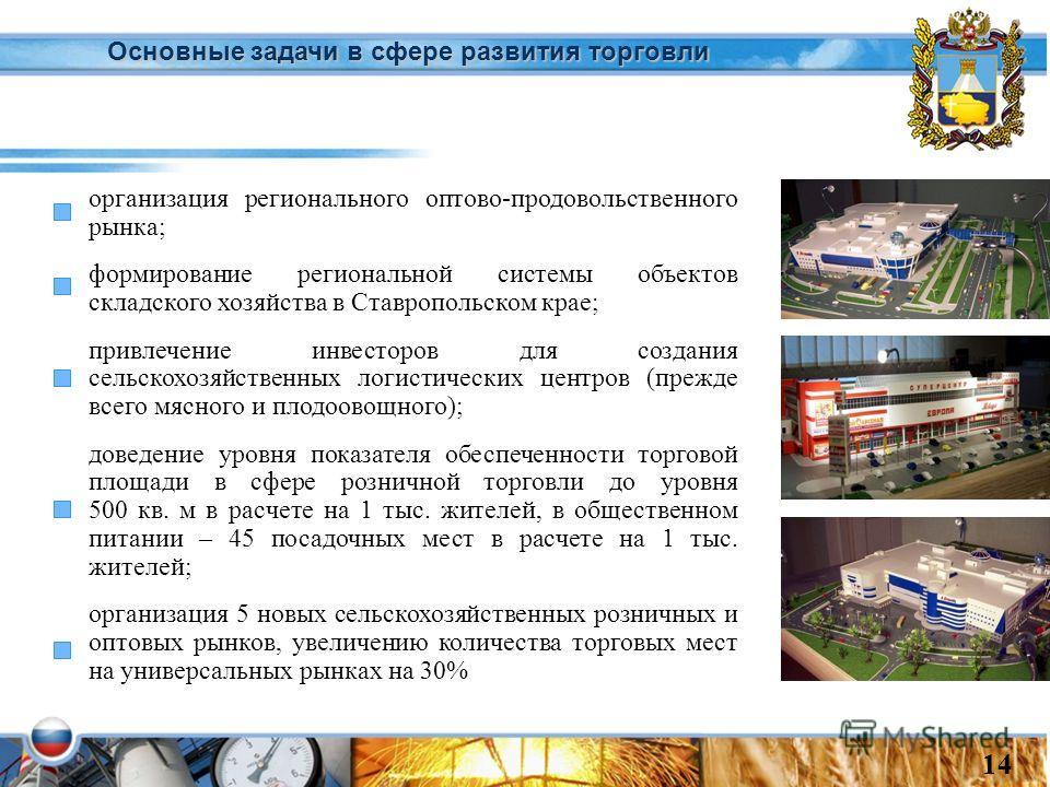 Основные задачи в сфере развития торговли организация регионального оптово-продовольственного рынка; формирование региональной системы объектов складского хозяйства в Ставропольском крае; привлечение инвесторов для создания сельскохозяйственных логис