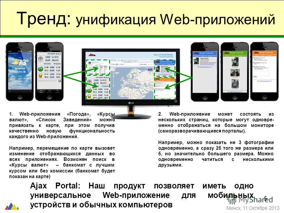 5 Тренд: унификация Web-приложений Минск, 11 Октября 2013 1. Web-приложения «Погода», «Курсы валют», «Список Заведений» можно привязать к карте, при этом получив качественно новую функциональность каждого из Web-приложений. Например, перемещение по к