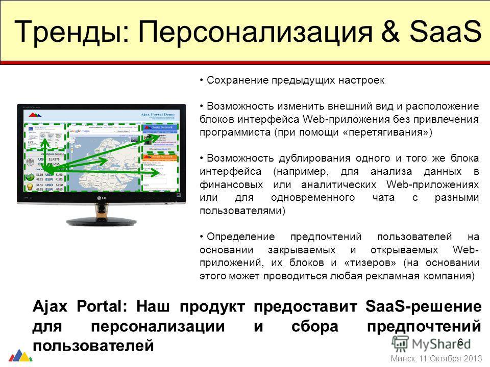 6 Тренды: Персонализация & SaaS Минск, 11 Октября 2013 Сохранение предыдущих настроек Возможность изменить внешний вид и расположение блоков интерфейса Web-приложения без привлечения программиста (при помощи «перетягивания») Возможность дублирования