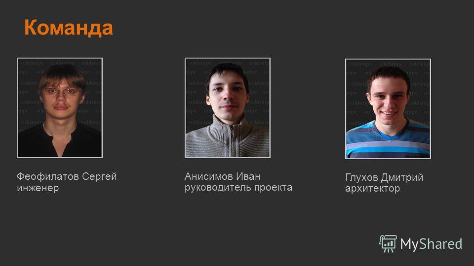 Команда руководитель проекта Анисимов Иван инженер Феофилатов Сергей архитектор Глухов Дмитрий