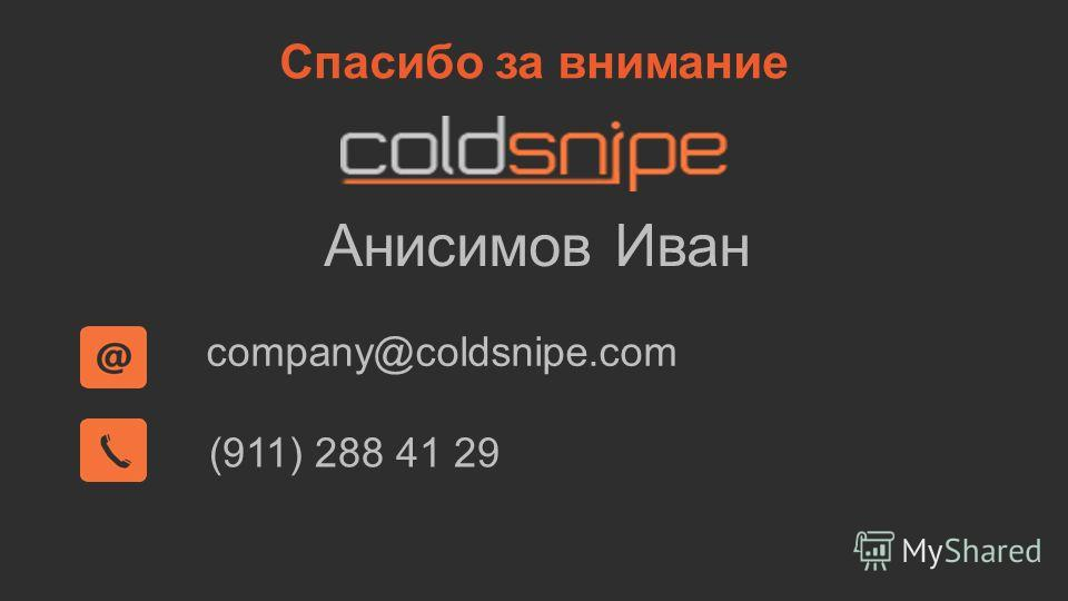 Спасибо за внимание company@coldsnipe.com (911) 288 41 29 Анисимов Иван
