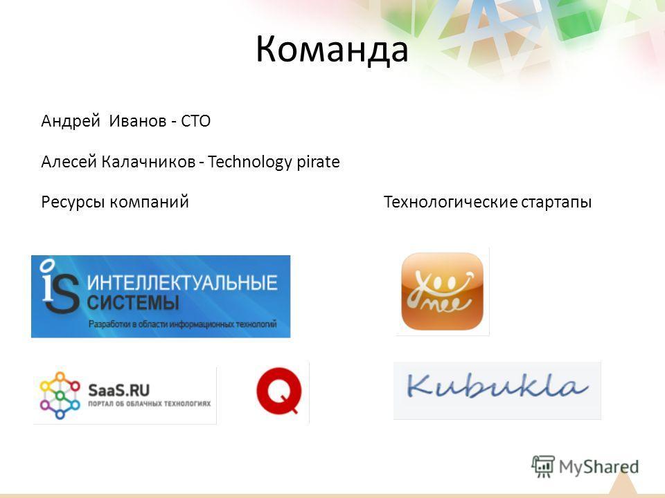 Команда Андрей Иванов - CTO Алесей Калачников - Technology pirate Ресурсы компаний Технологические стартапы