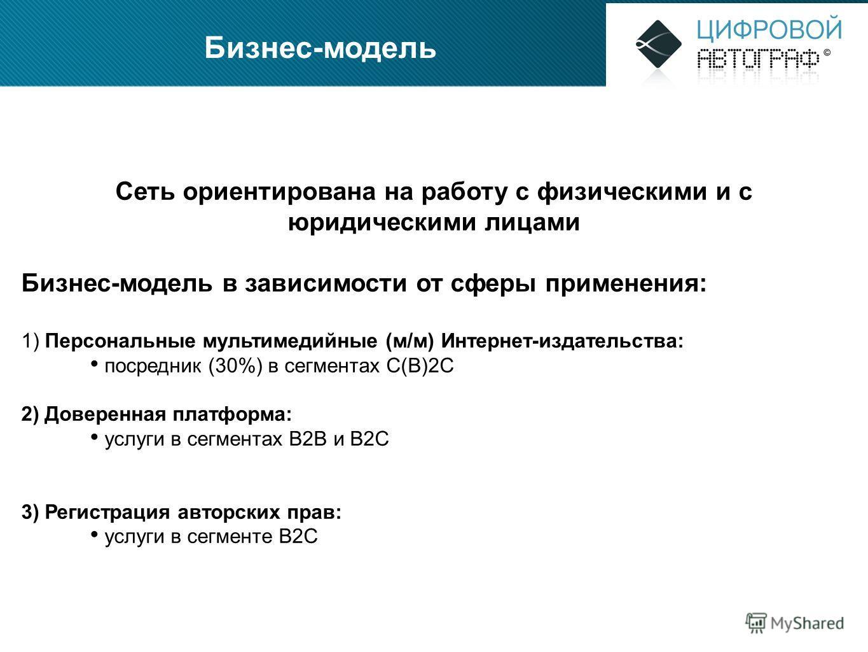 Бизнес-модель Сеть ориентирована на работу с физическими и с юридическими лицами Бизнес-модель в зависимости от сферы применения: 1) Персональные мультимедийные (м/м) Интернет-издательства: посредник (30%) в сегментах C(B)2C 2) Доверенная платформа: