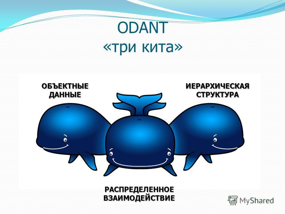 ODANT «три кита» ОБЪЕКТНЫЕ ДАННЫЕ ИЕРАРХИЧЕСКАЯСТРУКТУРА РАСПРЕДЕЛЕННОЕ ВЗАИМОДЕЙСТВИЕ