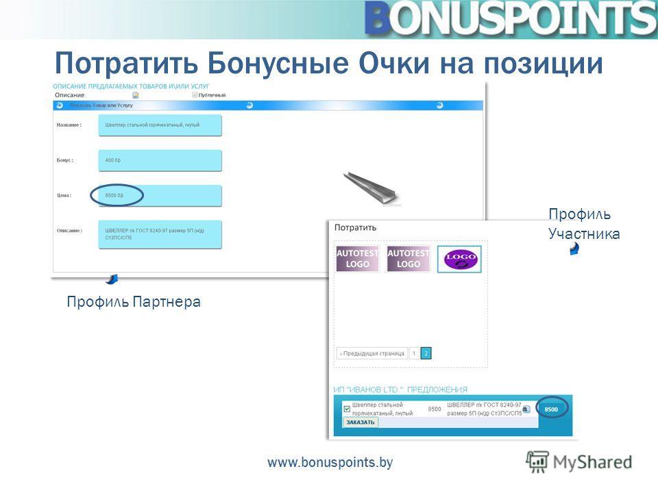 Потратить Бонусные Очки на позиции www.bonuspoints.by Профиль Партнера Профиль Участника