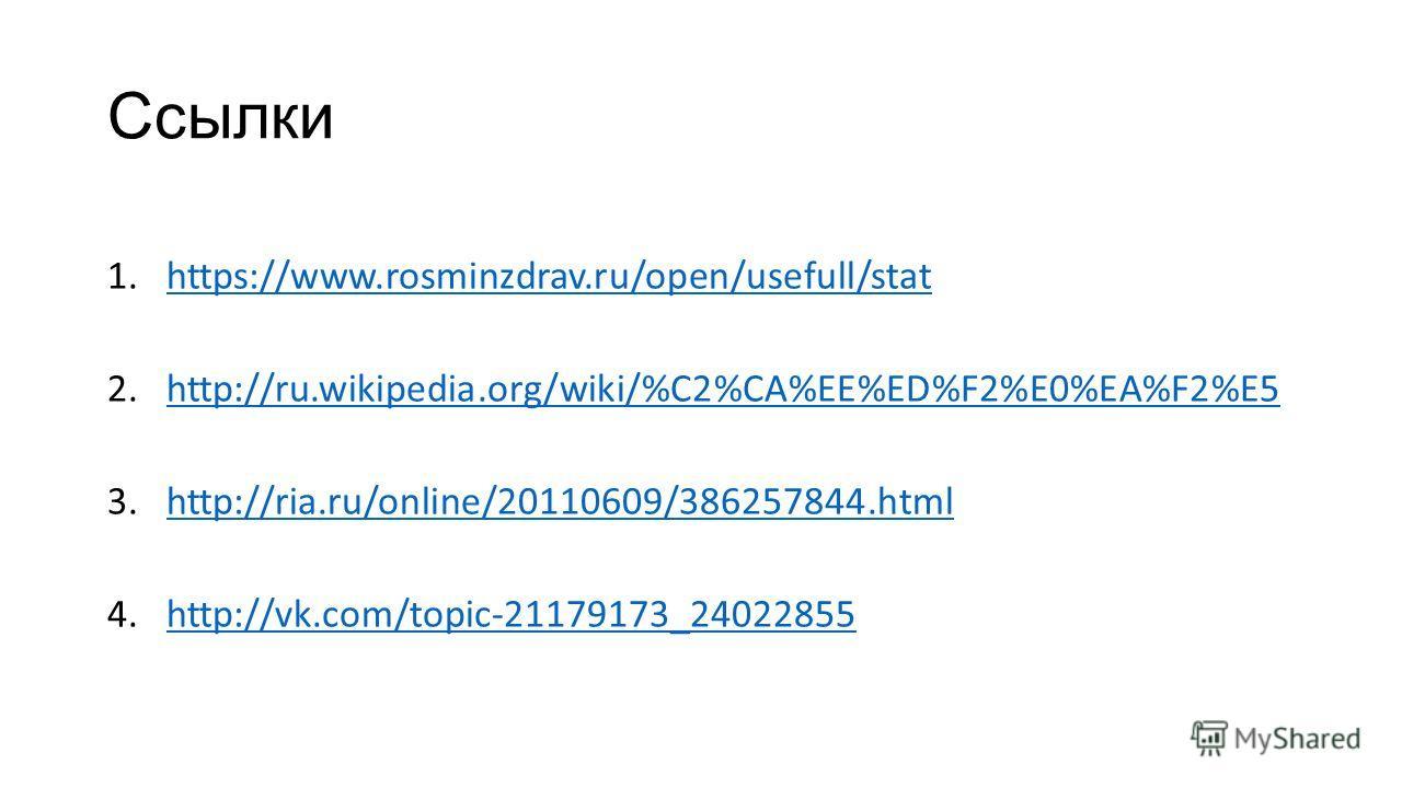 Ссылки 1.https://www.rosminzdrav.ru/open/usefull/stathttps://www.rosminzdrav.ru/open/usefull/stat 2.http://ru.wikipedia.org/wiki/%C2%CA%EE%ED%F2%E0%EA%F2%E5http://ru.wikipedia.org/wiki/%C2%CA%EE%ED%F2%E0%EA%F2%E5 3.http://ria.ru/online/20110609/38625