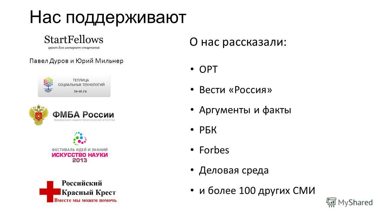 Нас поддерживают Павел Дуров и Юрий Мильнер О нас рассказали: ОРТ Вести «Россия» Аргументы и факты РБК Forbes Деловая среда и более 100 других СМИ