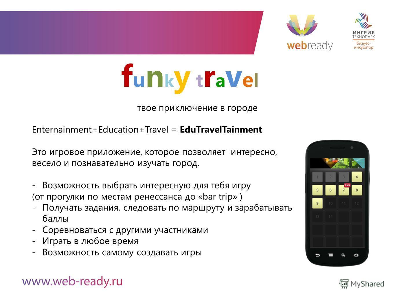 funky travelfunky travel Enternainment+Education+Travel = EduTravelTainment Это игровое приложение, которое позволяет интересно, весело и познавательно изучать город. -Возможность выбрать интересную для тебя игру (от прогулки по местам ренессанса до