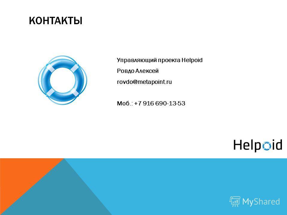КОНТАКТЫ Управляющий проекта Helpoid Ровдо Алексей rovdo@metapoint.ru Моб.: +7 916 690-13-53