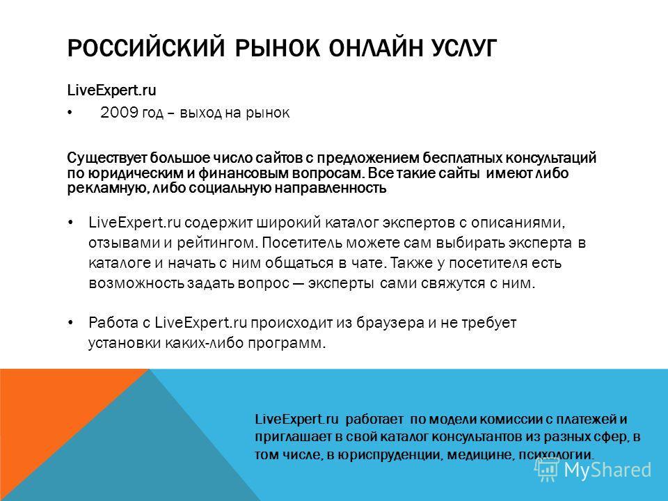 РОССИЙСКИЙ РЫНОК ОНЛАЙН УСЛУГ LiveExpert.ru 2009 год – выход на рынок Существует большое число сайтов с предложением бесплатных консультаций по юридическим и финансовым вопросам. Все такие сайты имеют либо рекламную, либо социальную направленность Li