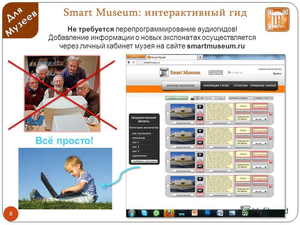 Всё просто! Не требуется перепрограммирование аудиогидов! Добавление информации о новых экспонатах осуществляется через личный кабинет музея на сайте smartmuseum.ru 8