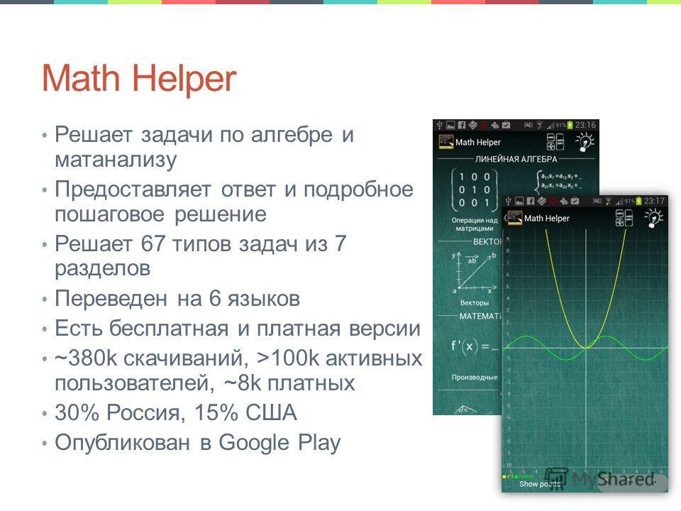 Math Helper Решает задачи по алгебре и матанализу Предоставляет ответ и подробное пошаговое решение Решает 67 типов задач из 7 разделов Переведен на 6 языков Есть бесплатная и платная версии ~380k скачиваний, >100k активных пользователей, ~8k платных