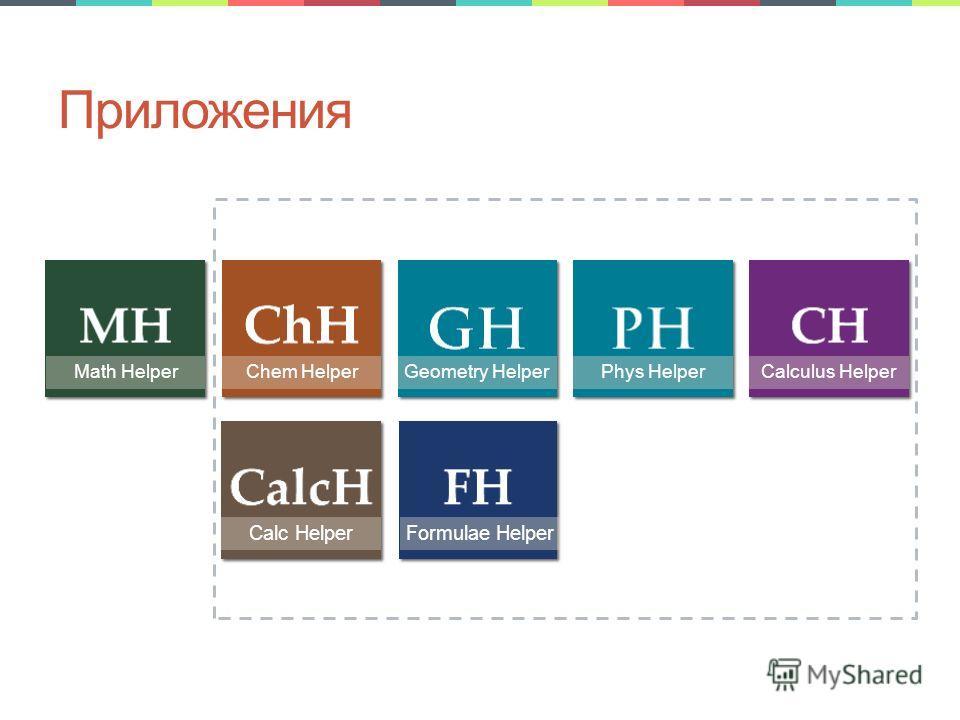 Приложения Math HelperChem HelperGeometry HelperPhys HelperCalculus Helper Calc HelperFormulae Helper