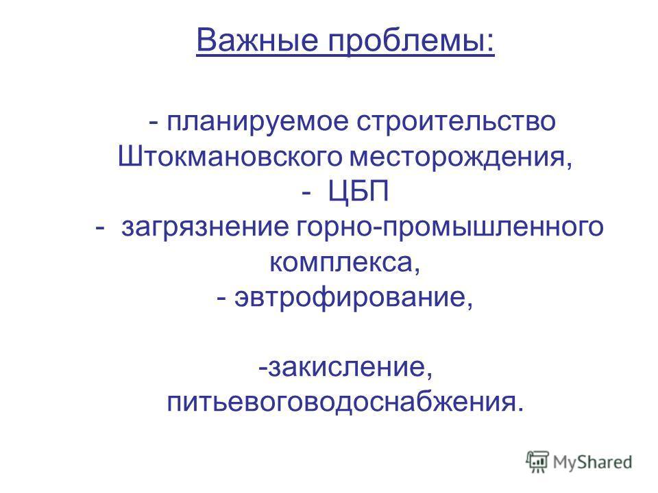 Важные проблемы: - планируемое строительство Штокмановского месторождения, - ЦБП - загрязнение горно-промышленного комплекса, - эвтрофирование, -закисление, питьевоговодоснабжения.